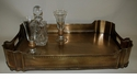 Dessau Home Antique Brass Pierced Gallery Ball Footed Tray