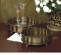 Dessau Home Antique Brass Scalloped Footed Trays Set/2