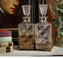 Dessau Home Antique Brass Gallery Holder with 2 Crystal Decanters