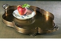 Dessau Home Antique Brass Scalloped Oval Footed Tray with Handles