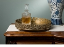 Dessau Home Antique Brass Flower Gallery Footed Tray