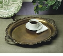 Dessau Home Antique Brass Tray with Cutout Handles