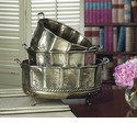 Dessau Home Antique Silver Embossed Footed Planters Set/3