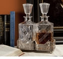 Dessau Home Antique Silver Gallery Stand with 2 Crystal Decanters