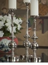 Dessau Home Nickel Pillar Ball Candleholder - Large