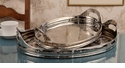 "Dessau Home Nickel Tray Oval Etched 16.5"" L"