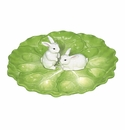 J Willfred Ceramics Cabbage Egg Dish With Bunny