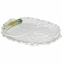 J Willfred Ceramics Cabbage and Asparagus Platter - White