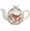 "J. Willfred by Andrea by Sadek Red Bird Toile 7"" Teapot with Lid"