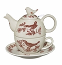 J. Willfred by Andrea by Sadek Red Bird Toile Tea of One Stacking Teapot Set