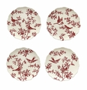 "J. Willfred by Andrea by Sadek Red Bird Toile 12"" Charger Plates (Assorted Set of 4)"