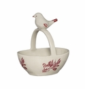 J. Willfred by Andrea by Sadek Red Bird Toile Basket Dish with Bird