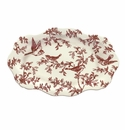 "J. Willfred by Andrea by Sadek Red Bird Toile 20"" Oval Platter"