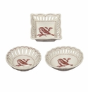 J. Willfred by Andrea by Sadek Red Bird Toile Pierced Dishes (Set of 3)