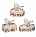 J. Willfred by Andrea by Sadek Red Bird Toile Covered Boxes with Birds (Set of 3)
