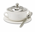 Match Italian Pewter Convivio Covered Soup Bowl with Plate