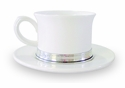 Match Italian Pewter Convivio Tea Cup with Saucer White