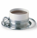 Match Italian Pewter Cappuccino Cup with Saucer