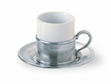 Match Italian Pewter Espresso Cup and Saucer