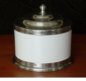 Match Italian Pewter Convivio Cookie or Biscotti Jar White