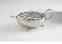 Match Italian Pewter Scallop Condiment Dish with Crystal And Spoon