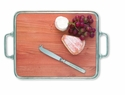 Match Italian Pewter Cheese Tray with Handles Cherry Wood  Large
