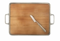 Match Italian Pewter Cheese Tray with Handles Cherry Wood Extra Large