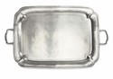 Match Italian Pewter Parma Rectangle Tray with Handles Large
