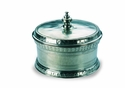 Match Italian Pewter Round Engraved Box