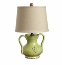 Vietri Rustic Collection Small Handled Pistachio Mini Lamp