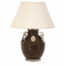 Vietri Rustic Collection Taupe Emblem Lamp with Cream Handles