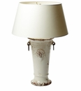 Vietri Rustic Collection Large Cream Trumpet Vase Lamp