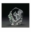 Mats Jonasson Maleras Swedish Crystal Squirrel, Hand-Etched