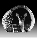 Mats Jonasson Maleras Swedish Crystal Fawn, Hand-Etched