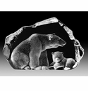 Mats Jonasson Maleras Swedish Crystal Polar Bear & Cub