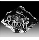 Mats Jonasson Maleras Swedish Crystal Moose Family