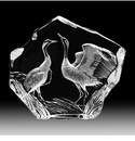 Mats Jonasson Maleras Swedish Crystal Two Cranes