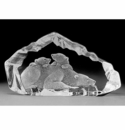 Mats Jonasson Maleras Swedish Crystal Polar Bear and Cubs