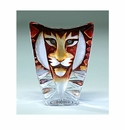 Mats Jonasson Maleras Swedish Crystal Tiger, Small Orange