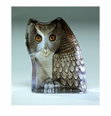 Mats Jonasson Maleras Swedish Crystal Safari Owl, Facing Left