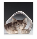 Mats Jonasson Maleras Swedish Crystal Safari Cat, Small Grey