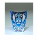 Mats Jonasson Maleras Swedish Crystal Tiger, Small Blue