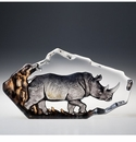 Mats Jonasson Maleras Swedish Crystal Safari Rhino, Limited Edition