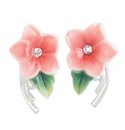 Franz Porcelain Collection Camellia Design Rhodium Plated Brass And Sculptured Porcelain Earrings-Pierced