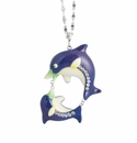 Franz Porcelain Collection Eggplant Dolphin Design Rhodium Plated Brass And Sculptured Porcelain Necklace