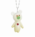 Franz Porcelain Collection White Radish Bear Design Rhodium Plated Brass And Sculptured Porcelain Necklace