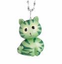 Franz Porcelain Collection Watermelon Cat Design Rhodium Plated Brass And Sculptured Porcelain Necklace