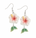 Franz Collection Porcelain Island Beauty Hibiscus Earrings