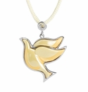 Franz Porcelain Collection Dove Rhodium Plated Brass Necklace
