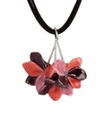 Franz Porcelain Collection Pelargonium Flower Rhodium Plated Brass Necklace